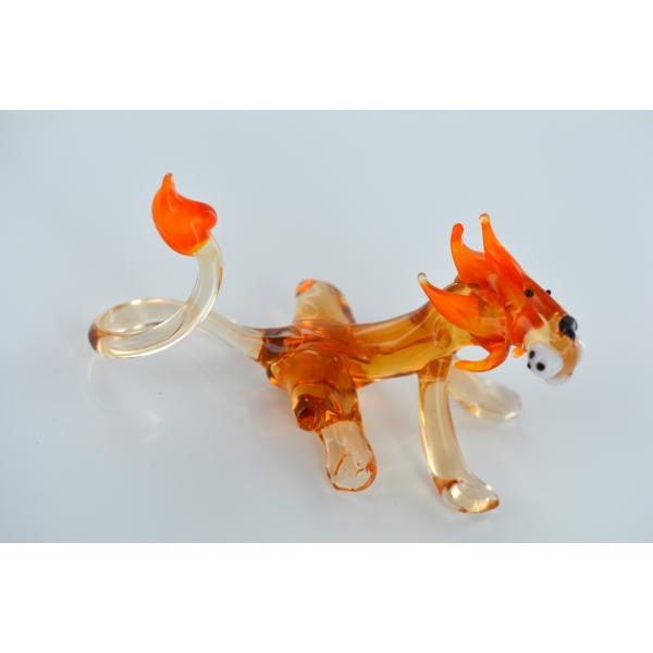 Löwe - Glasfigur Mit Oranger Mähne - Glastier