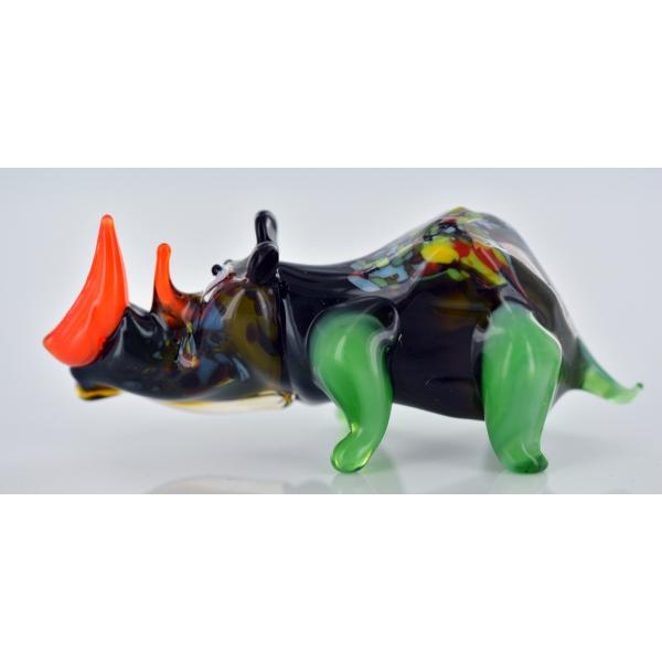 Nashorn Schwarz - Rhinozeros Glasfigur - Glastier