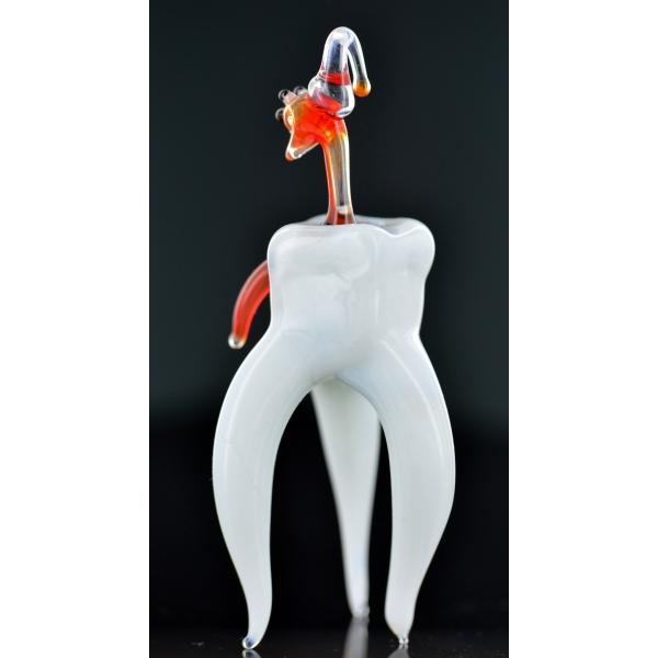Zahn, Backenzahn mit Karies -Glasfigur-b7-19