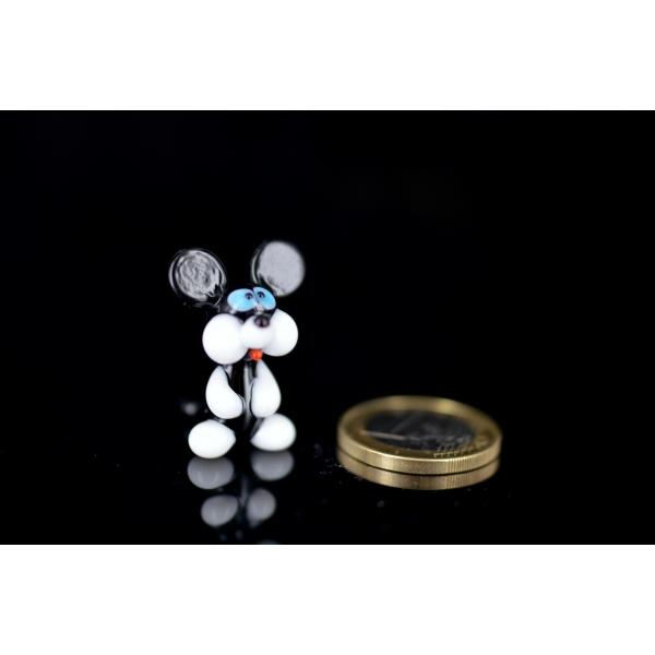 Maus Schwarz Weiß - Mäuschen Figur aus Glas - Miniatur Deko