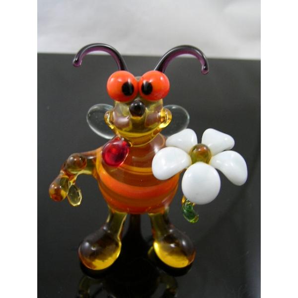 Biene mit Blume -Glasfigur-Glastier-5-22