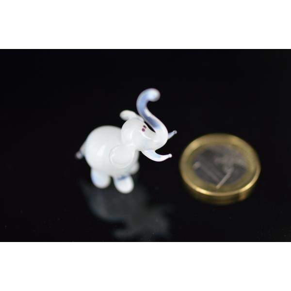 Weißer Elefant Buddha - Miniatur Glasfigur - Elephant Mini Weiß