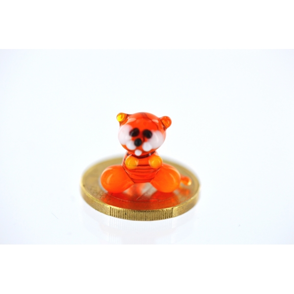 Tiger Mini Orange - Glasfigur Miniatur - Glastier