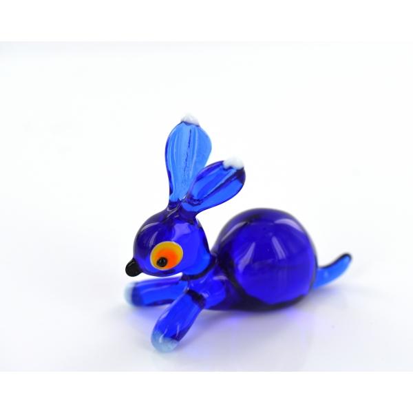 Hase aus Glas Blau- Figur blaues H