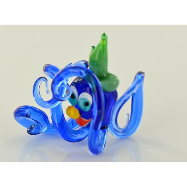 Blauer Oktopus mit Hut - Glasfigur Krake - Glastier