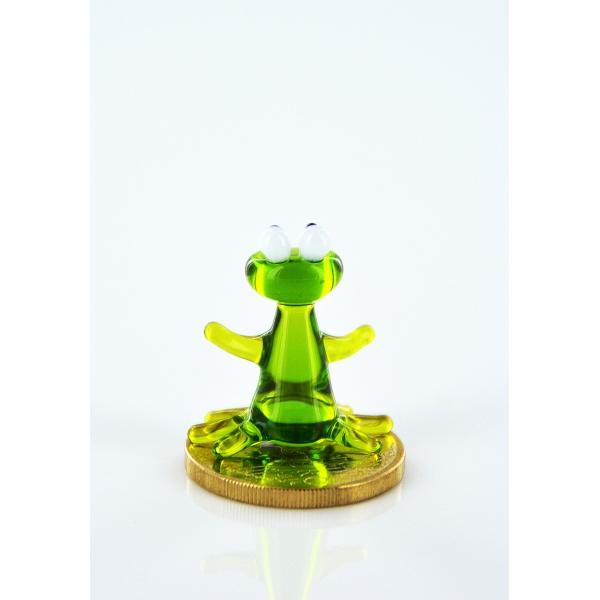 Frosch Grün Glas Mini - Grüner Frosch aus Glas- Miniatur Figur
