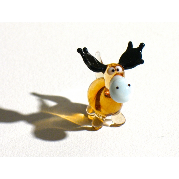 Elch Mini 2 braun - Miniatur Figur aus Glas Kleiner brauner Elch stehend - Glastier Glasfigur Setzka