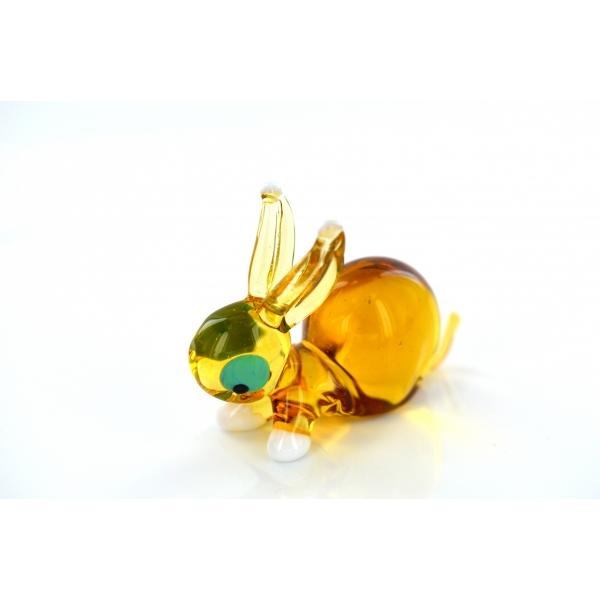 Hase aus Glas Gelb - Figur braunes Häschen - Glasfigur Glastier