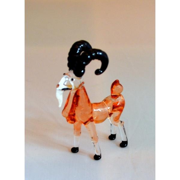 Ziege - Figur aus Glas Glasfigur Glastier Ziegenbock braun