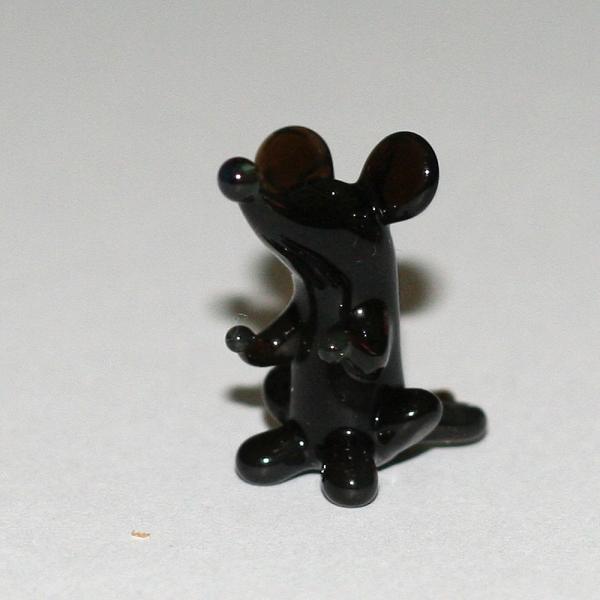 Maus mini - schwarz- Glasfigur