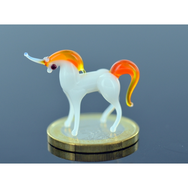 Einhorn mini weiß - orange Glasfigur - Glastier