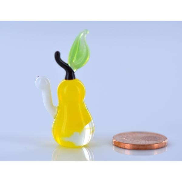 Birne mit Wurm - Glasfigur Miniatur Obst Wurm - Glastier
