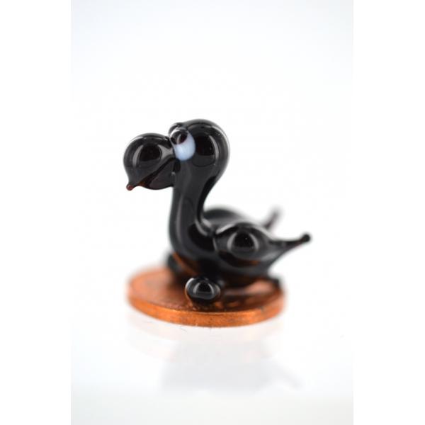 Rabe mini Schwarz - Miniatur Figur aus Glas schwarzer Rabe Deko