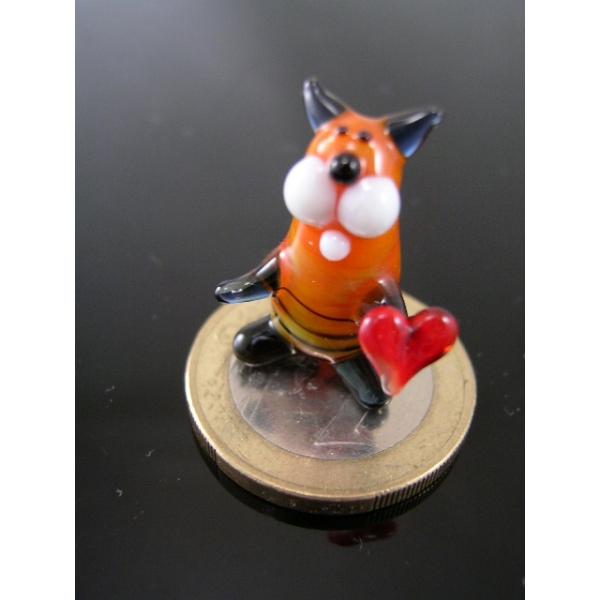 Katze mini mit Herz 2 -Glasfigur-k-6