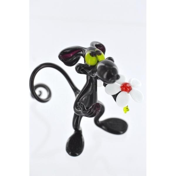 Ratte mit Blume Groß schwarz--Glasfigur