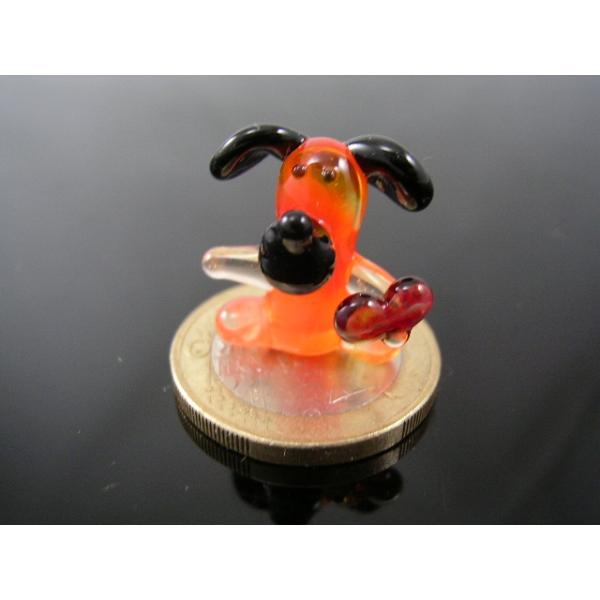 Hund mit herz orange mini-k-3-Glasfigur-Glasminiatur -Glasfigure