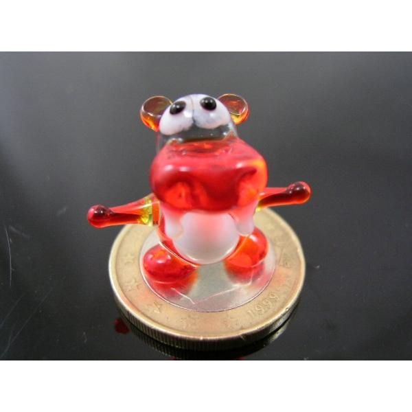 Flusspferd-Nilpferd mini-Glasfigur-k-1 rot