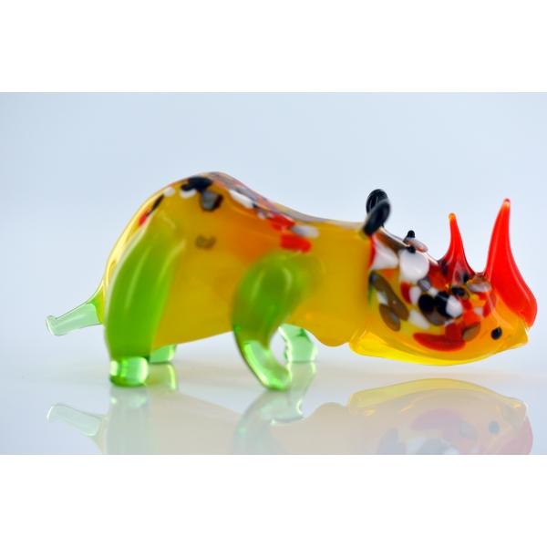 Nashorn Gelb - Rhinozeros Glasfigur - Glastier