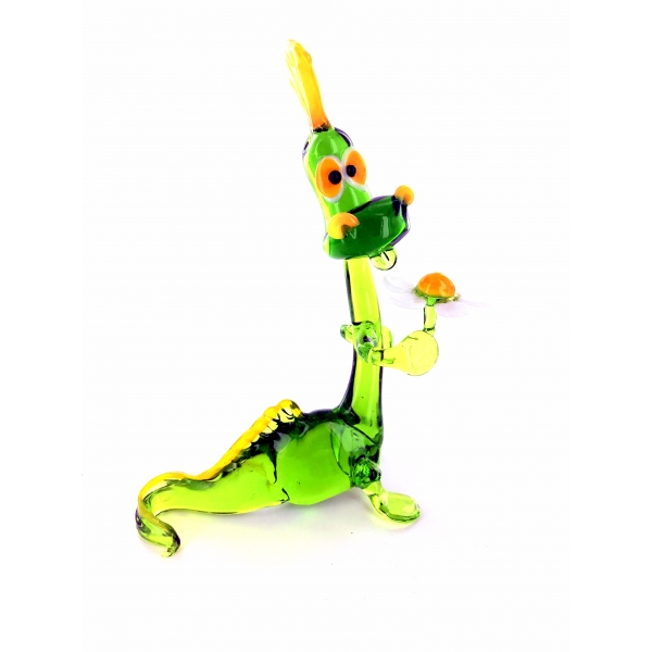 Drache mit Blume-Dragon-Glasfiguren-Glastiere-Glass animals