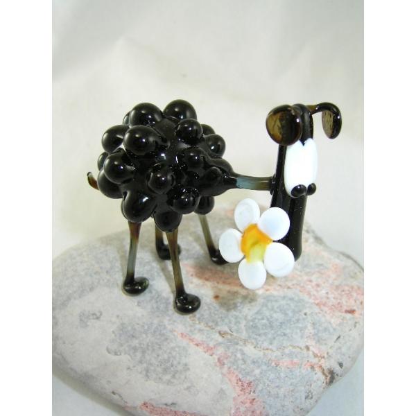Schaf mit Blume-Glastier-Glasfigur-Glasfiguren-b6-34-1