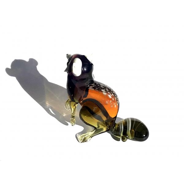 Waschbär Figur aus Glas