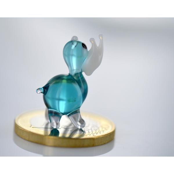 Nashorn Rhinozeros mini - blau - Glasfigur
