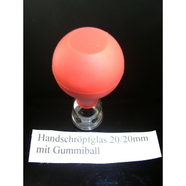Handschröpfglas mit Gummiball-20mm/20mm-Schröpfgläser