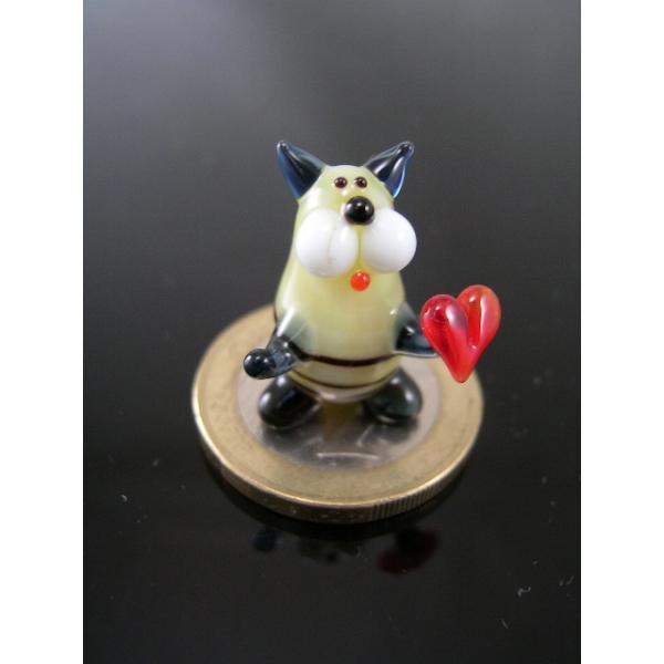 Katze mini mit Herz 3 -Glasfigur-k-6