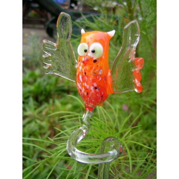 Eule orange-Orchideenstab-Blumenstab-Rankhilfe-u-3