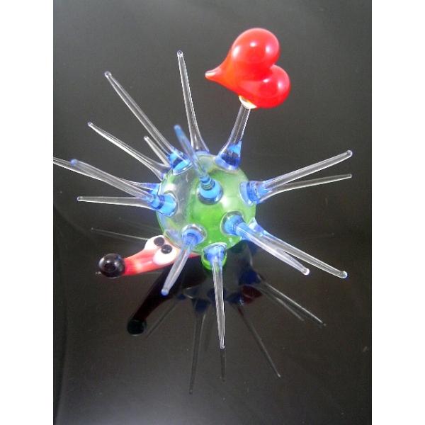 Igel mit Herz-Glastier-glasfigur b6-43-5