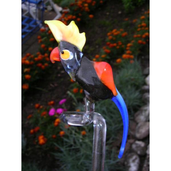 Papagei schwarz-Orchideenstab-Blumenstab-Rankhilfe-u-1