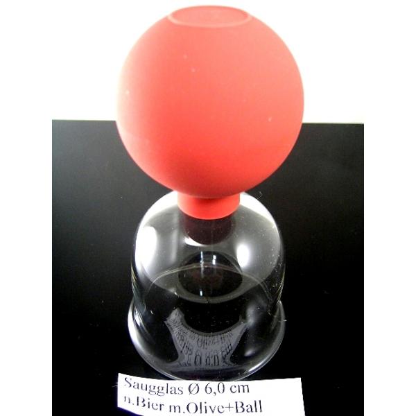 Saugglas mit Olive und Ball nach Bier-6,00 cm