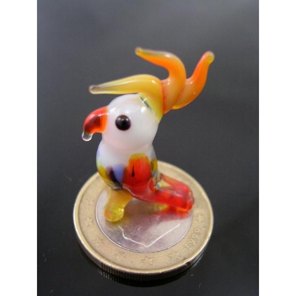 Papagei mini Glasfigur weiß-gelb k-1