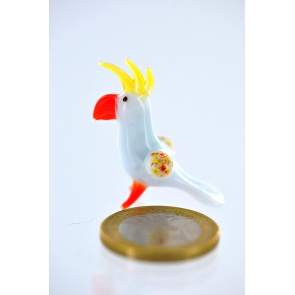 Kakadu- Papagei mini-Glasfigur-Glastier