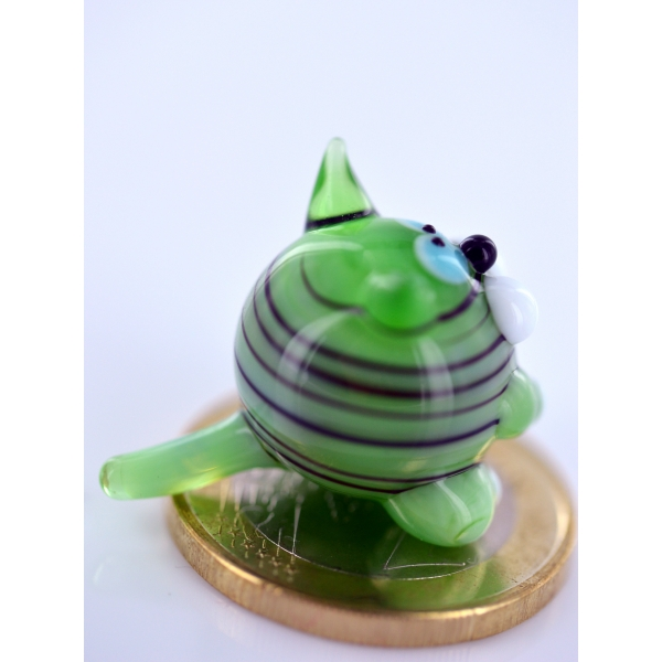 Katze mini Grün 1 - Glasfigur