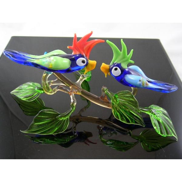 2 Papageien auf Ast-8 - Glastiere