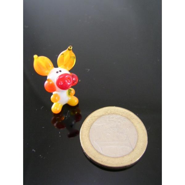 Schwein mini orange -Glasfigur-k-7