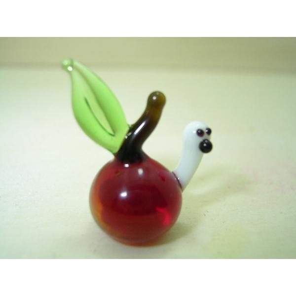 Apfel mit Wurm rot - Glastier