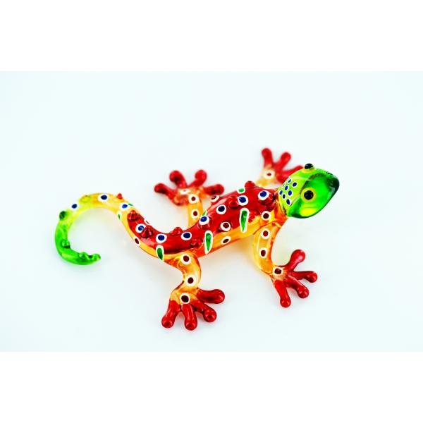 Gecko - Glasfigur - Glasfiguren- T-Gelb-Rot-S