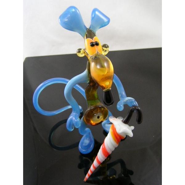 Ratte mit Regerschirm Groß-Glastier -Glasskulptur-blau