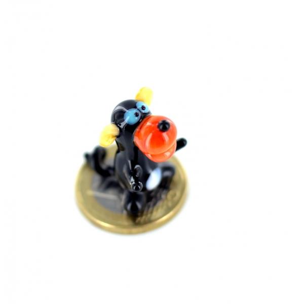 Affe Schwarz Orange Mini - Miniatur Figur aus Glas Äffchen Deko