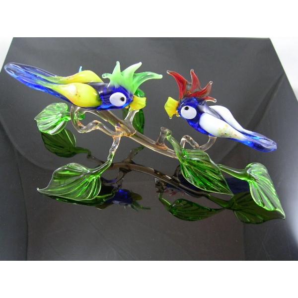 2 Papageien auf Ast 30 - Glastiere