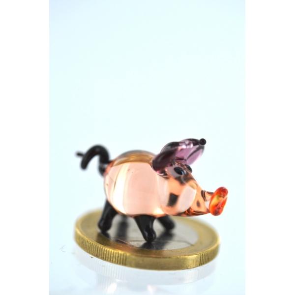 Schwein mini Rosa - Miniatur Figur aus Glas Schweinchen Deko