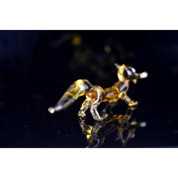 Fuchs-Fuchs - Figur aus Glas Braun Gelb - Deko Vitrine Glasfigur