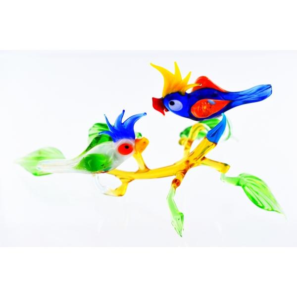 Zwei Papageien auf Ast - Glasfigur Kakadu Blau Wei