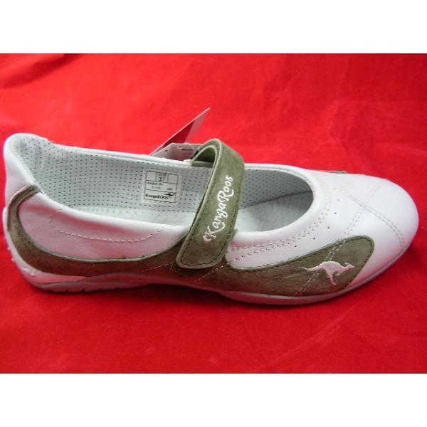 Kangaroos Ballerina-Gr.38-Leder -Weiß-Khaki
