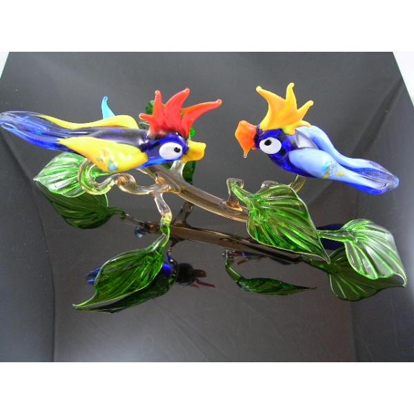 2 Papageien auf Ast 28 - Glastiere