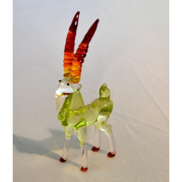 Steinbock - Grün Braun Figur aus Glas - Glastier Deko Vitrine