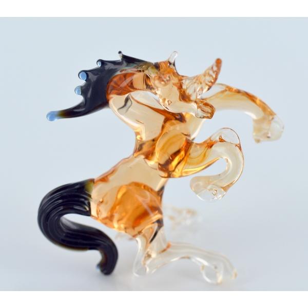 Einhorn Bernsteinfarben Schwarz- Glasfigur - Glastier