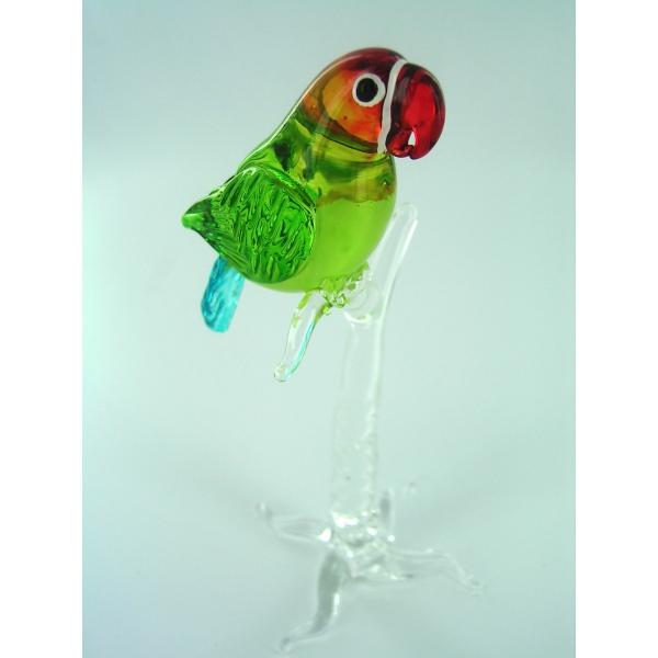 Papagei auf Ast 5 -Glasfigur-Glastier